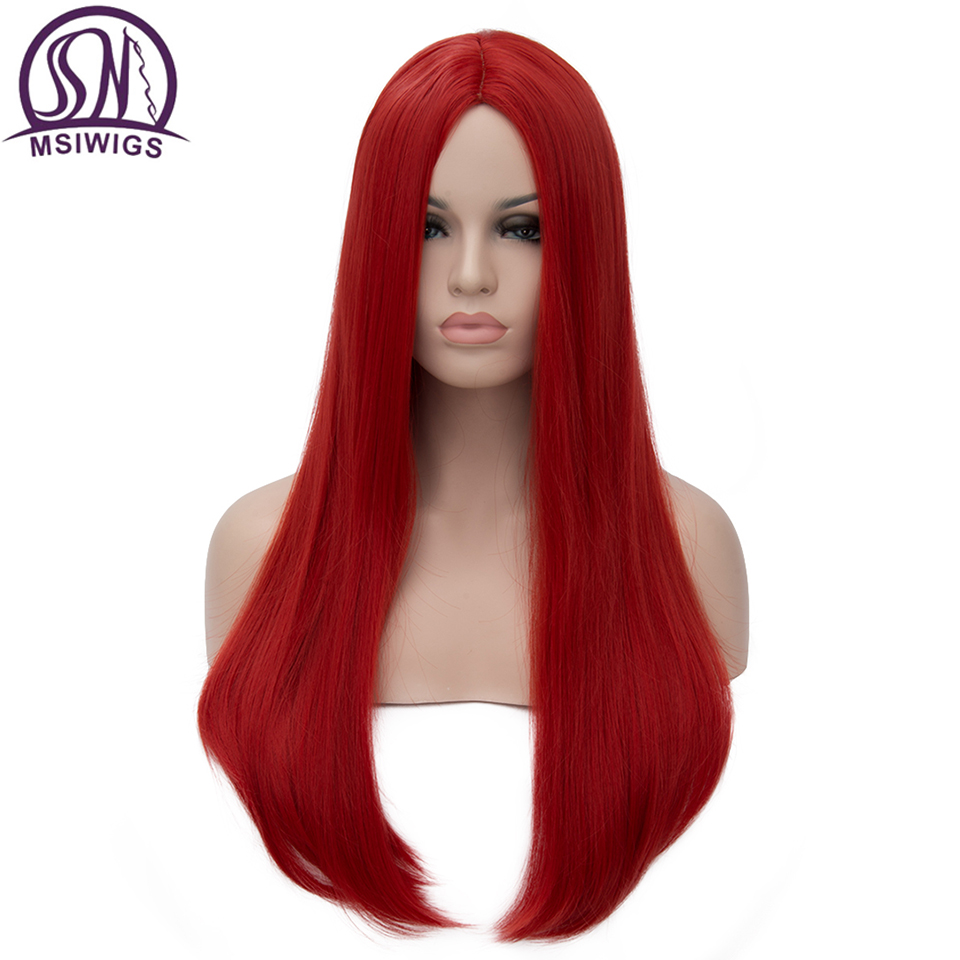 MSIWIGS Long Straight Wigs Synthetic Orange Color Women's Wig Cospaly Central Part Hair Silver Grey White Red Colour