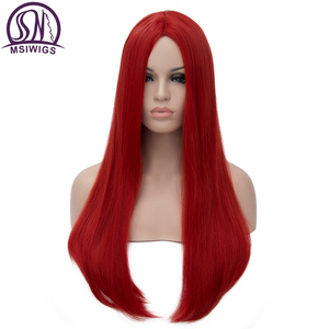 MSIWIGS Long Straight Wigs Synthetic Orange Color Women's Wig Cospaly Central Part Hair Silver Grey White Red Colour(China)