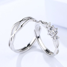 Genuine S925 Sterling Silver Jewelry Couple Pair Ring Men and Women Simple Fashion Zircon Open Adjustable Ring s925 sterling silver classical minimalist ring jewelry men women fashion couple ring