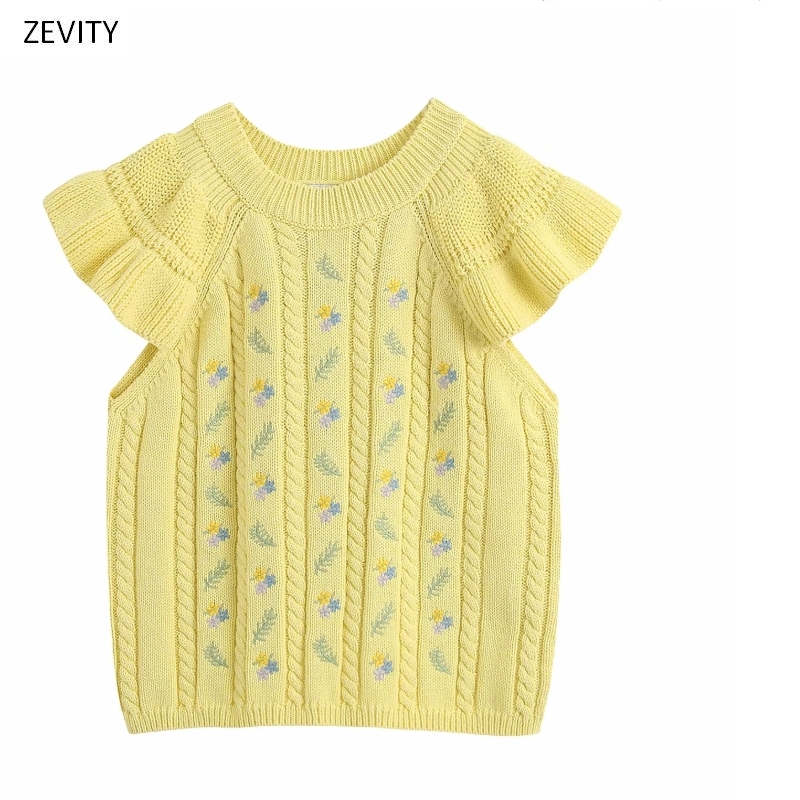 New Women Round Collar Floral Embroidery Yellow Knitted Casual Slim Sweater Female Sweet Short Sleeve Ruffles Sweaters Tops S259