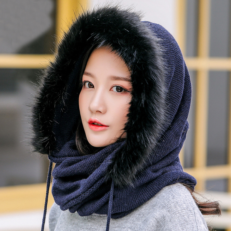 HT2799 New Fashion Thick Warm Winter Hat Women 2 In 1 Hat With Scarf Ladies Russian Fur Hat Scarf Set Female Winter Accessories