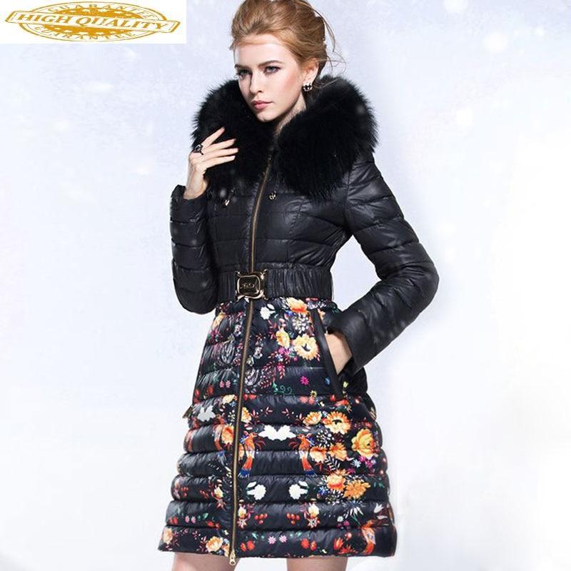 Women's Winter Down Jackets Brands Raccoon Fur Collar Hooded Luxury Winter Coat Women Puffer Warm Down Jacket 2020 KJ2740