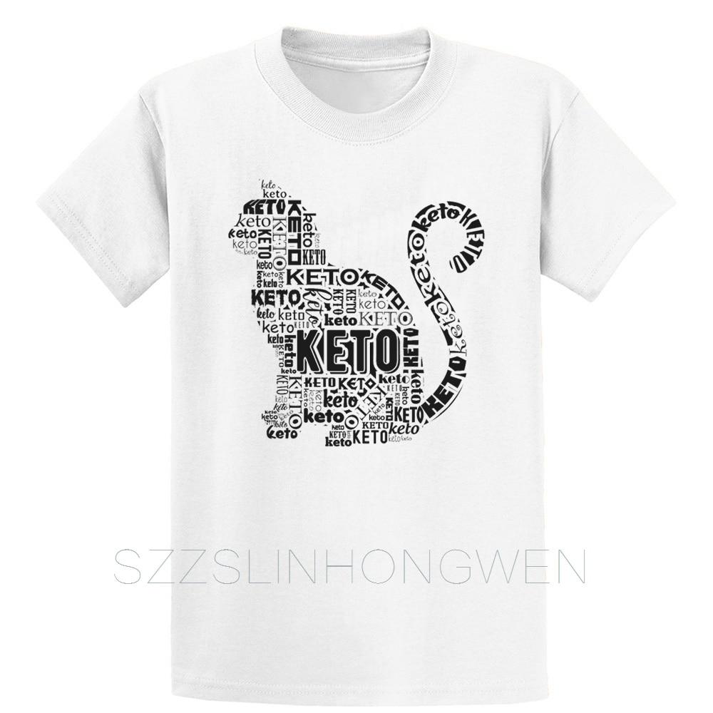 Keto Ketogenic Diet Design Funny Cat T Shirt Printing Graphic Cool Natural Spring O-Neck Tee Shirt Humor Shirt