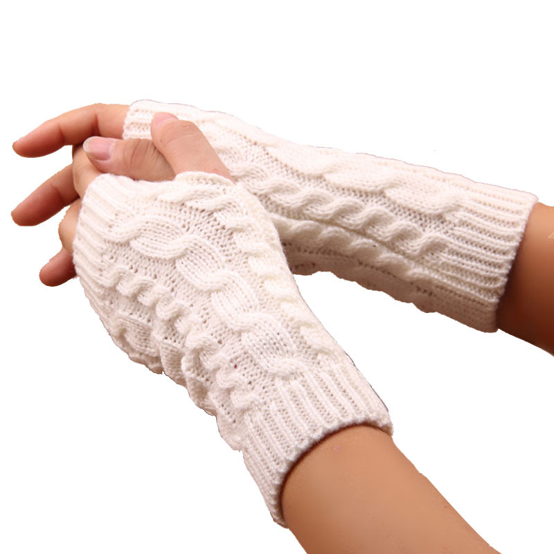 1 Pair Women Men Twist Crochet Knitted Fingerless Gloves Short Arm Sleeve Warm Mittens Winter Knitting Faux Gloves Gants Femme