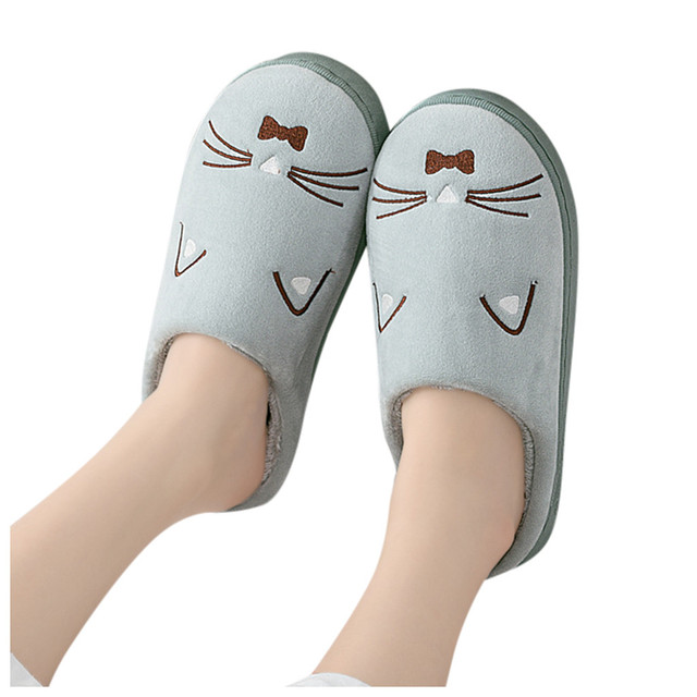 Winter Warm Cartoon Cat Slippers Woman Shoes