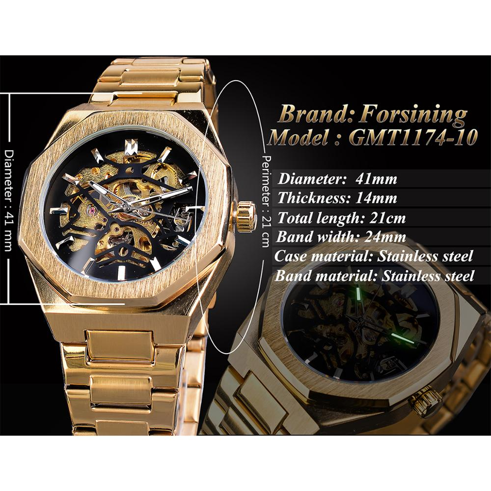 Forsining 2019 Gold Mechanical Automatic Watches For Men Skeleton Waterproof Clock Top Brand Luxury Luminous Hands Wristwatches