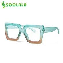 SOOLALA-gafas de lectura cuadradas de gran tamaño para mujer, anteojos de lectura con luz azul, con gradientes transparentes, para presbicia