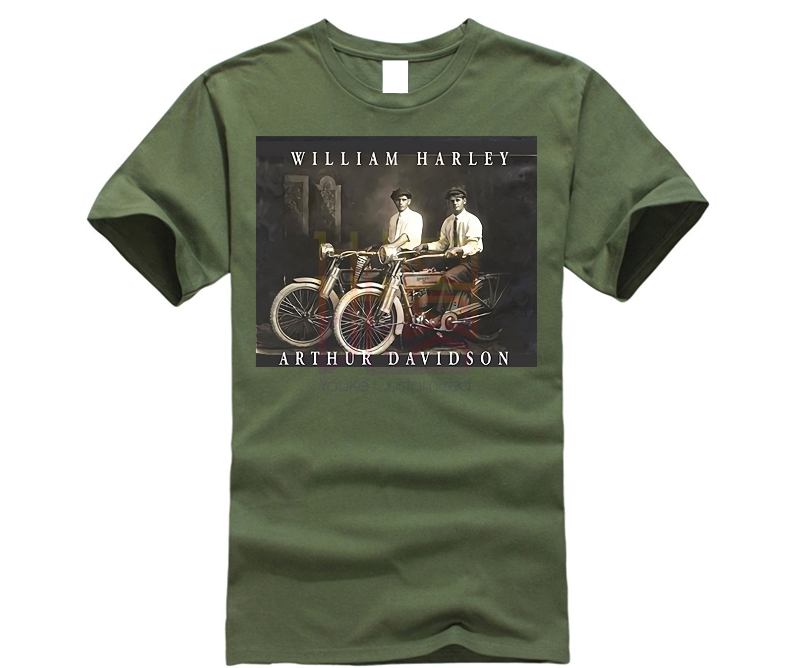 William Harley & Arthur Davidson On Their Motorcycles, T-Shirt, All Sizes NWT Mens 2019 Fashion Brand T Shirt O-Neck 100%cotton
