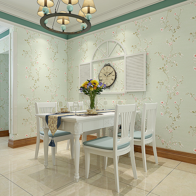 American-Style Pastoral Style Bedroom Wallpaper Nonwoven Fabric Vine Flower Living Room Beauty Salon Marriage House Wallpaper Ro