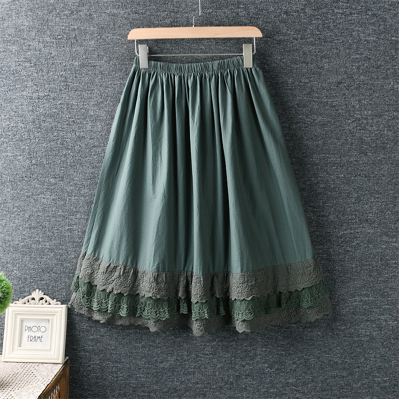 2019 New Autumn Women Skirt Literary Fresh Elastic Waist Lace Embroidery Loose Cotton Skirt Women