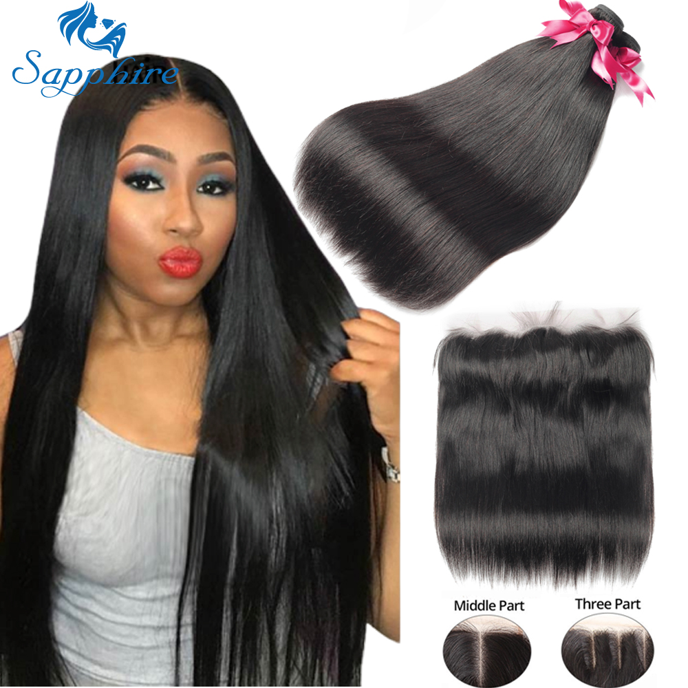 Sapphire Straight Hair Frontal With Bundles Human Hair Bundles With Frontal Brazilian Hair Weave Bundles With Closure Frontal