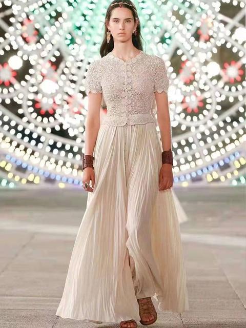 Prom Dresses Summer Dress 2021 Evening Lace Cotton Party Vintage Long Dress V Neck Short Sleeve Black White Women Clothing Molin 1