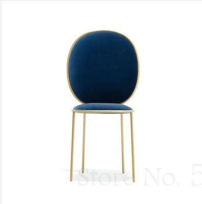 Nordic net red dining chair flannel negotiation table and chair girl heart princess iron dressing chair ins simple leisure chair