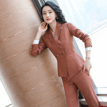 Elegant Formal Pants Suits for Women's Autumn and Winter Blazer and Pants Trousers Office Ladies Work Wear Clothes 2 Pieces Sets sky blue female suits pants women business elegant autumn blazer and trousers pants suit set office formal ol work wear 2 pieces