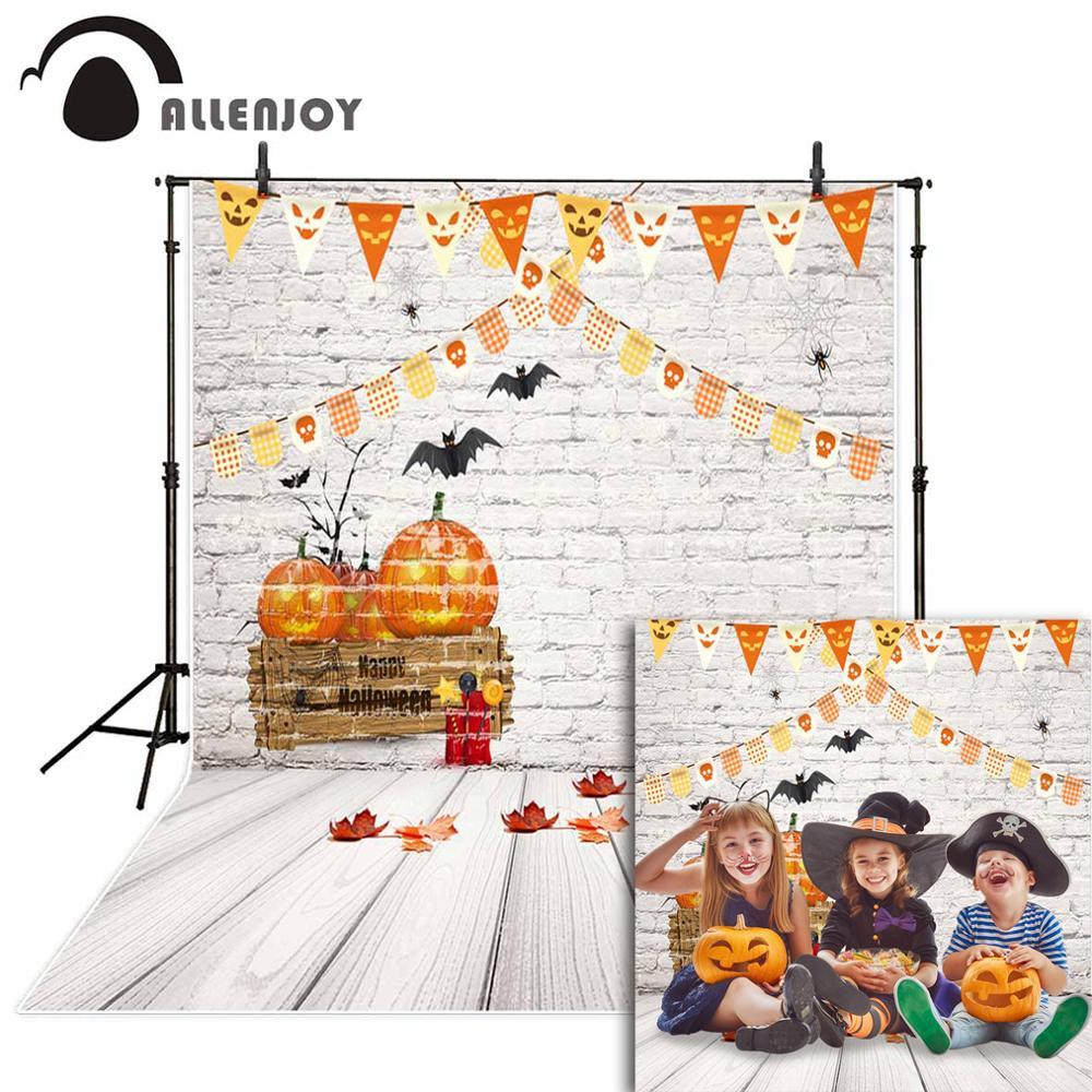 Allenjoy Halloween backdrop for children pumpkin white brick wall wooden floor bats photography backdrops background