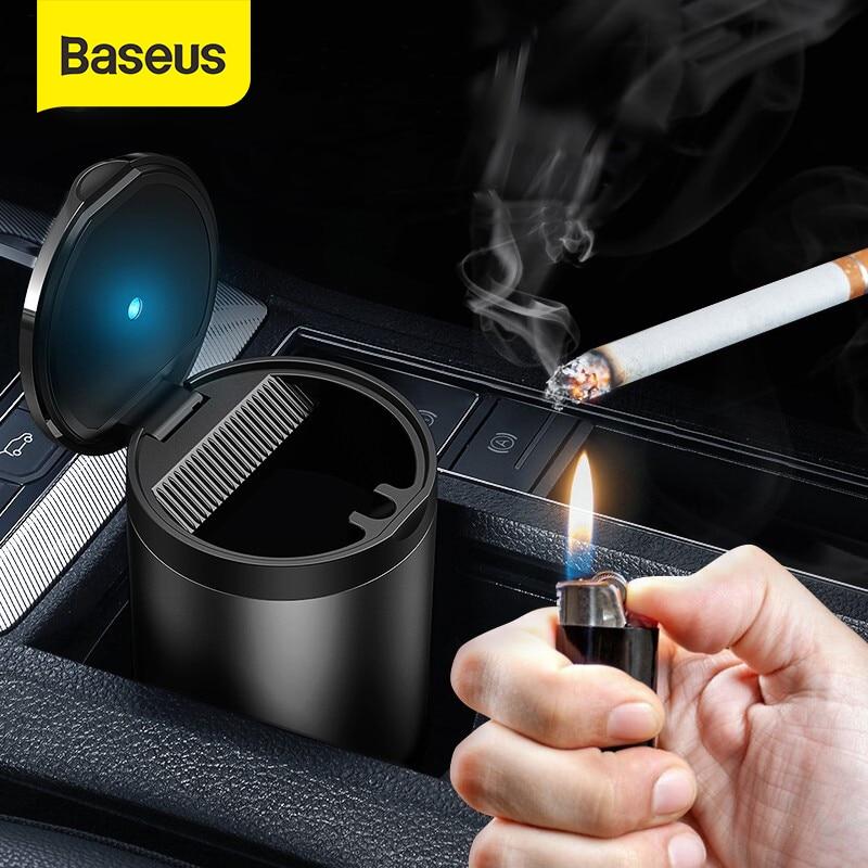 Baseus-Cenicero LED de aleación de aluminio para coche, cenicero para Audi, BMW, Golf, coches, portavasos, accesorios, Cenicero de cigarrillos automático