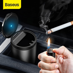 Baseus Car Ashtray LED Aluminum Alloy Ash Tray For Audi BMW Golf Cars Cup Holder Accessories Auto Ashtray Cigarette Holder Box