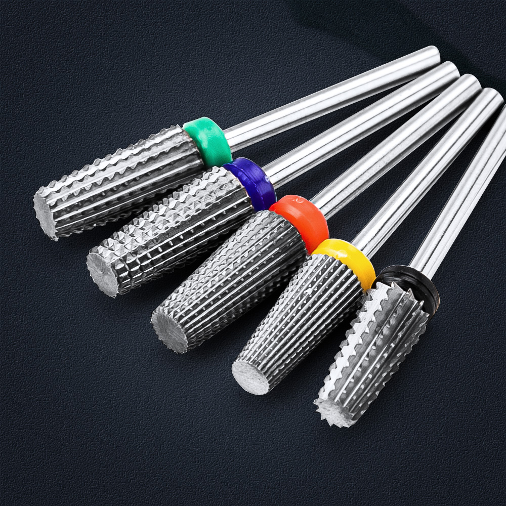 5 in 1 Tapered Safety Carbide Nail Drill Bits Milling Cutter With Cut Drills Carbide For Manicure Remove Gel Nails Accessories