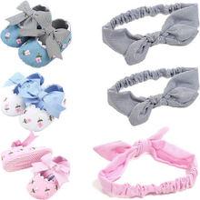 2Pcs Princess Bow Non-slip Toddler Kids Baby Shoes Headband Girls Soft Sole Cotton Crib 0-18M