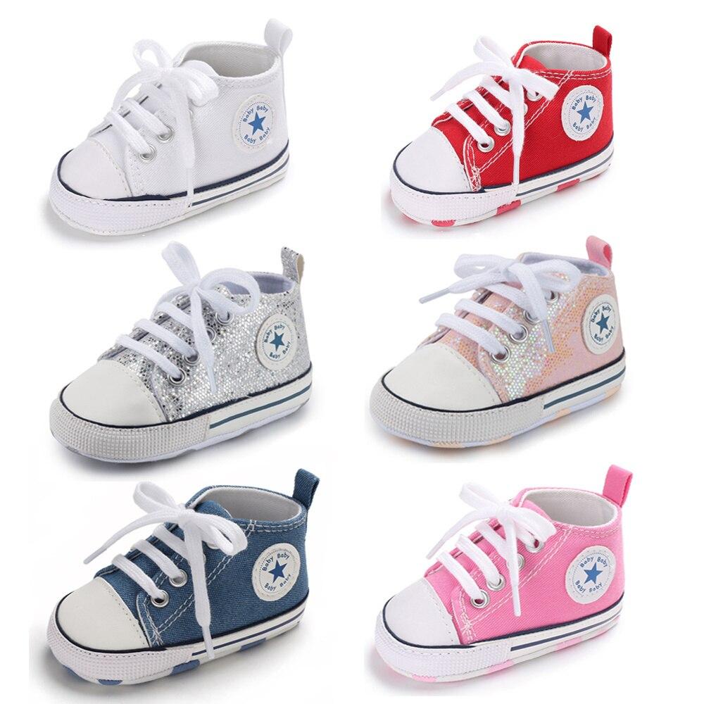 Buty dla dzieci chłopiec dziewczyna gwiazda solidna tenisówka bawełna miękka antypoślizgowa podeszwa noworodek buciki maluch dorywczo płótno szopka buty