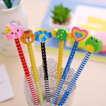 (Random Color) 40pcs/set Children HB Pencil Kids School Learning Supplies with Vivid Color Eraser 1