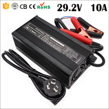 29.2V 10A 20A LiFePO4 Battery Charger for 8S 24V LiFePO4 Battery Pack Smart Charge Auto-Stop with Crocodile Clip
