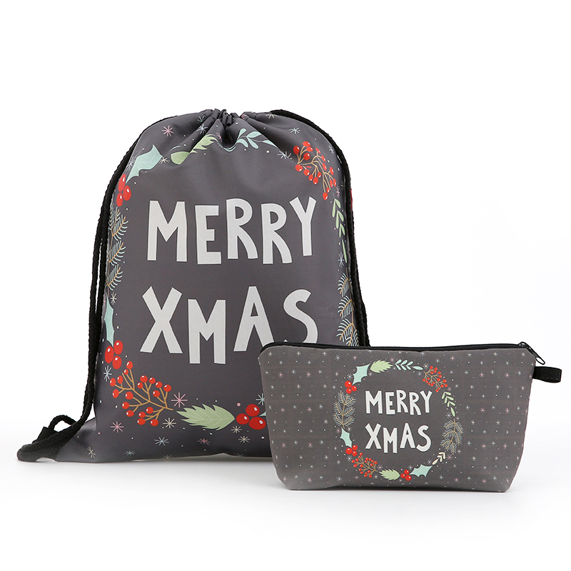 Backpack Drawstring Christmas Cosmetic Suit Drawstring Fashion Printing Travel Softback Men Bags Unisex Women's Shoulder New