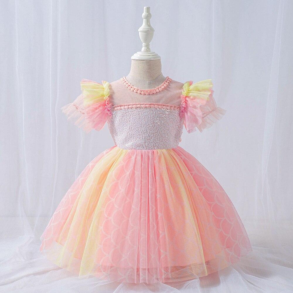 Nouveau bébé robe han édition infantile court costume broderie enfants été princesse robe dentelle robe de mariée bébé fille vêtements