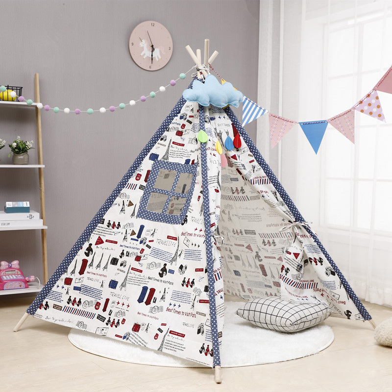 Children's Tent Tipi House Large Unbleached Canvas Original Teepee Kids Tent Folding Baby Game House Little Room Decorati