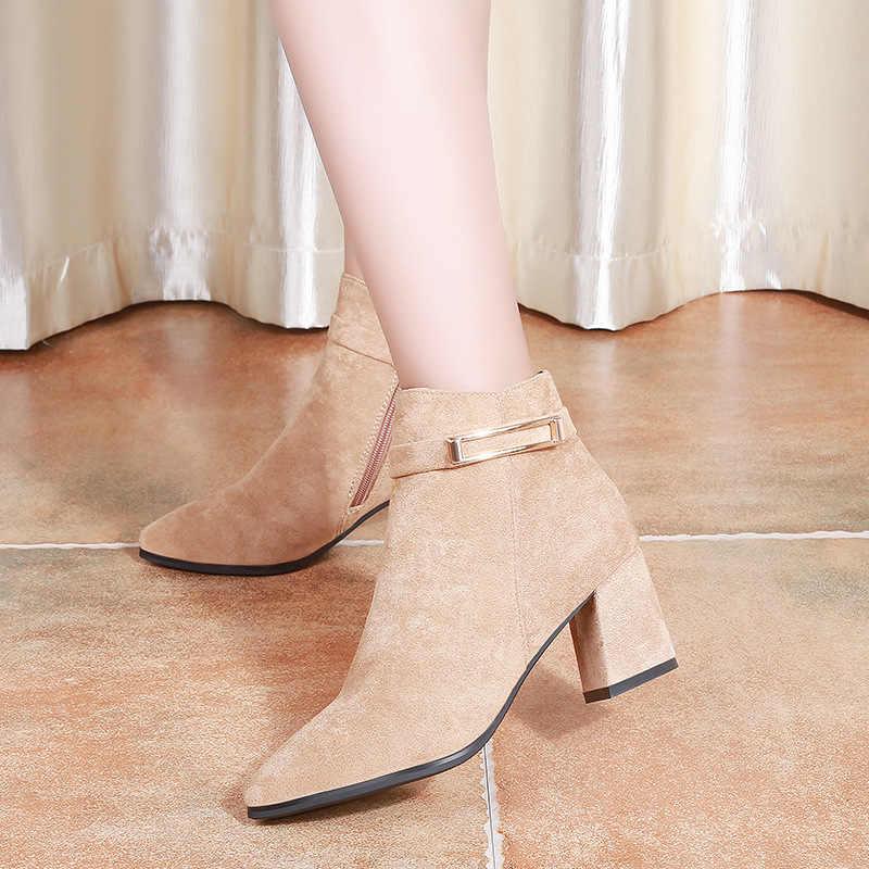 2019 chaussures d'hiver femmes talons hauts bottes mode femmes bottines femme parti chaussures talon carré 6cm noir rose A1923