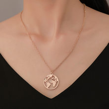 Wlp mapa do mundo colar, cor dourada colar de presente para casal vazado terra pingentes moda viagem colar de joias