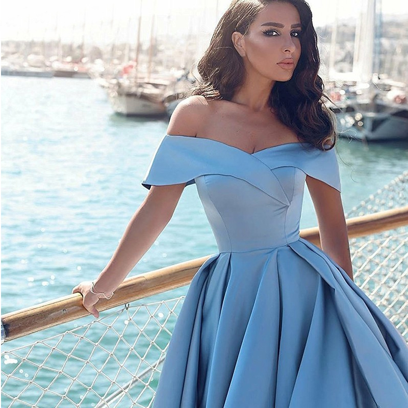 Elegant Hot Sell Ball Gown Off-the-Shoulder Court Train Women Formal Evening Gown Blue Satin Prom Dress Split Vestido Formatura
