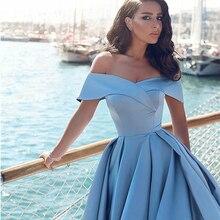 Элегантный горячий Продажа мяч платье с открытыми плечами суд шлейф женский формальный вечерний платье синий атлас выпускной платье разрез платье формат
