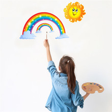 Rainbow Vinyl Wall Stickers Kids Room Bedroom Wallpapers Rainbow Sun Pattern Sticker Home Decor extra thick classical flower design home decor vinyl wallpapers