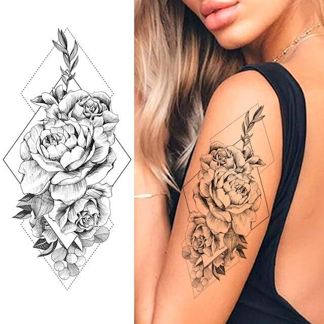 Purple Rose Jewelry Water Transfer Tattoo Stickers Women Body Chest Art Temporary Tattoo Girl Waist Bracelet Flash Tatoos Flower 3