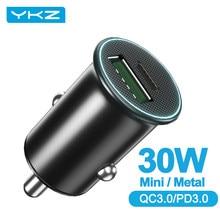 Ykz 30w mini carregador de telefone do carro carga rápida qc 3.0 4.0 pd usb tipo c carregador de telefone do carro para iphone xiaomi huawei telefone móvel