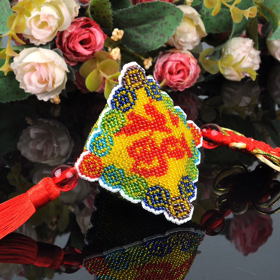 Ddecoration Car Key Chain Accessories Stamped Crafts DIY Printed Cross-Stitching-Kit Embroidery Stich-Bead Needlework 017