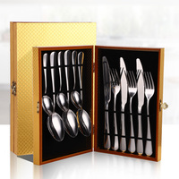 Spklifey Gold Cutlery Set Gold Spoon Gift Box Forks Knives Spoons Stainless Steel Cutlery Knife Fork Spoon Set Dinnerware Set|Dinnerware Sets|Home & Garden -