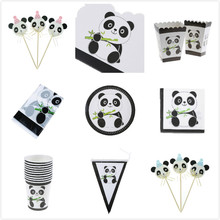 Panda Series Party Birthday Supplies Set Plate/Cup/Napkin/Banner/Invitation Card/Tablecloth/Cake Decoration/Panda Style Apron