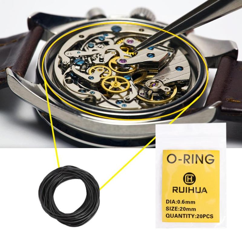 200pcs 0.5/0.6/0.7mm Rubber O-Rings Waterproof Watch Back Cover Advanced Seal Washers Watch Gaskets Repair Accessories