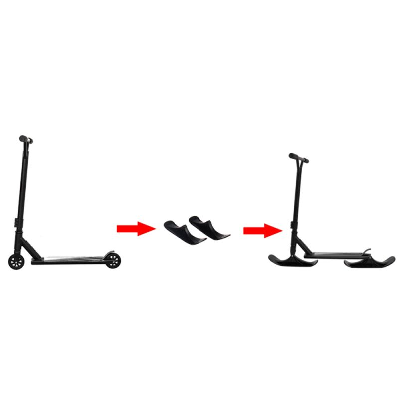 Universal Ski Board With Attachment Black 2 In 1 Practical Durable Replacement Outdoor Scooter Parts Sled