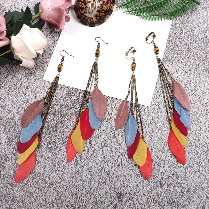 Fashion Long Tassel Feather Clip On Earrings Ethnic Boho Summer Statement No Pierced Ear Clips For Femmes Boucles Wholesale