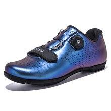 Unissex alta qualidade sapatos de ciclismo de estrada das mulheres respirável botão rotativo sapatos de bicicleta dos homens profissão tênis esportivos atléticos