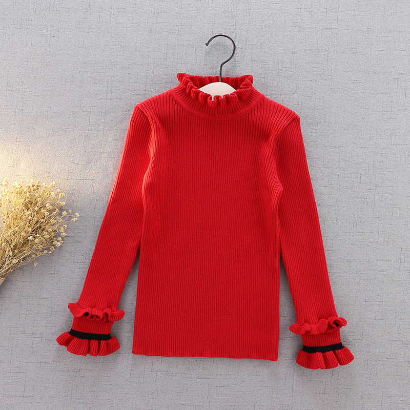 Korean-style Autumn & Winter New Style CHILDREN'S Sweater Solid Color Children Handmade Yarn Knitted Pullover Base Shirt