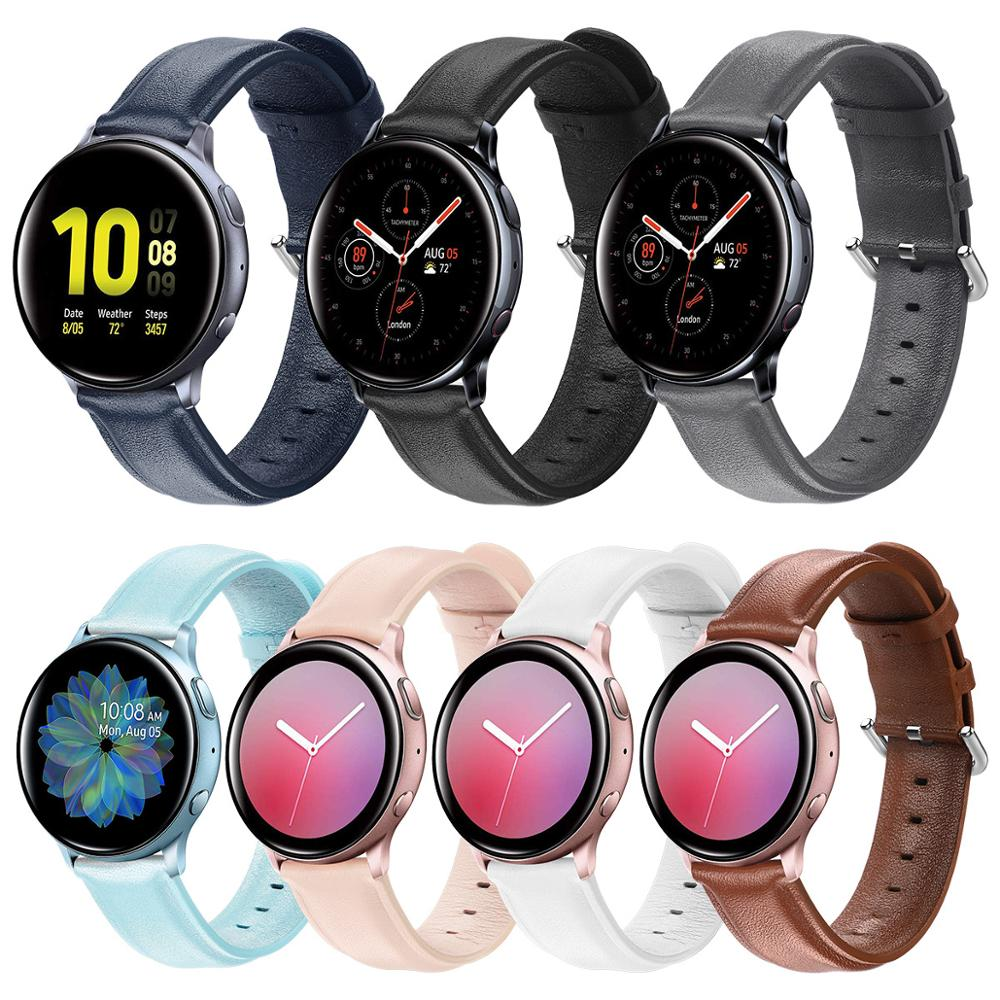 Leather Strap For Samsung Galaxy Watch Active 2 Strap 44mm 40mm Gear S2 Huawei GT2 42mm 20mm Watch Strap Bracelet Watchband 20