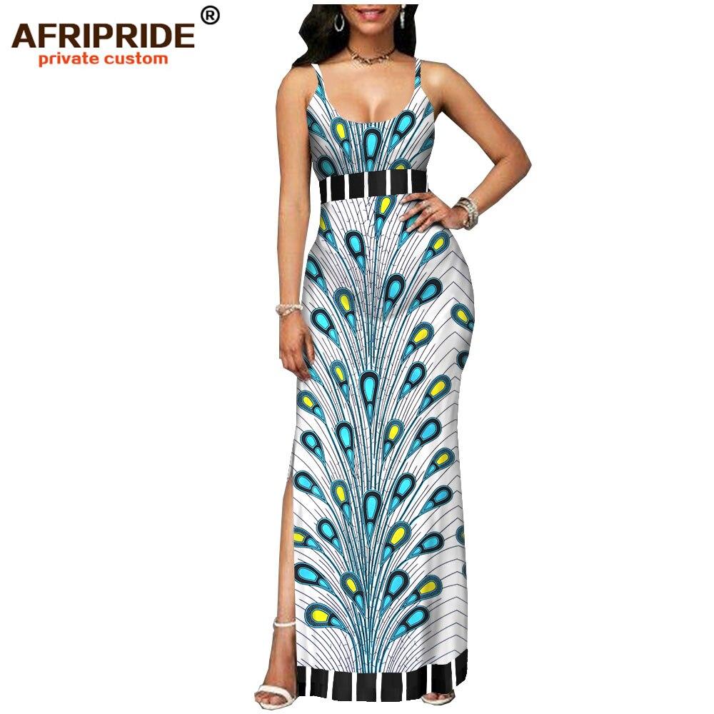 Kadın Giyim'ten Elbiseler'de 2019 bahar kadınlar için afrika elbise AFRIPRIDE tailor made bazin richi kolsuz ayak bileği uzunluk yan bölünmüş kadınlar elbise A1825112'da  Grup 1