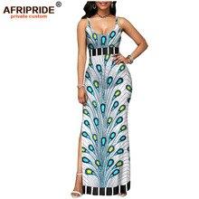 цены 2019 spring african dress for women AFRIPRIDE tailor made bazin richi sleeveless ankle length side split women dress A1825112
