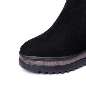 Image 5 - ALLBITEFO kliny obcas oryginalne skórzane szpilki botki dla kobiet mieszane kolory kobiety buty zimowe śnieg buty rozmiar: 34 42