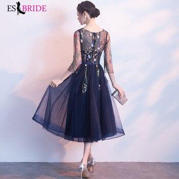 2019 Formal New Fashion Evening Dress Women Vintage Elegant Evening Dresses Sexy 3/4 Sleeve Pleated Velvet Long Dress ES1215 4
