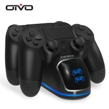 Oivo高速PS4コントローラドックステーションを充電するデュアル充電スタンドと状態表示画面用4/PS4スリム/PS4プロ